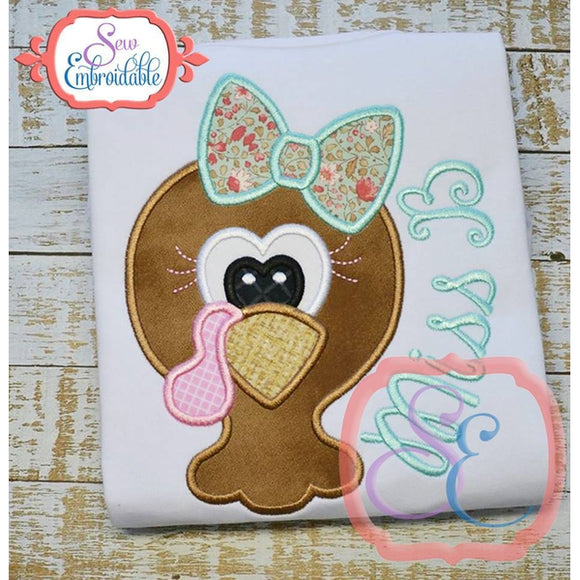 Turkey Girl Head Applique, Applique