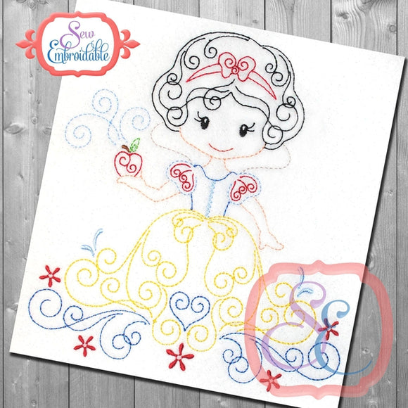 Swirly Princess 1 Embroidery Design, Embroidery