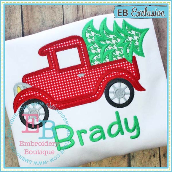 Old Timey Truck with Tree Applique - embroidery-boutique