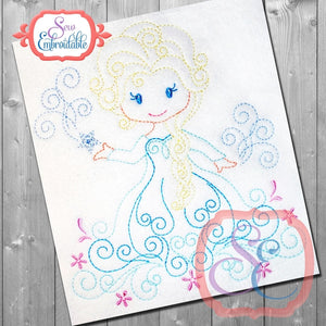 Swirly Princess 6 Embroidery Design, Embroidery