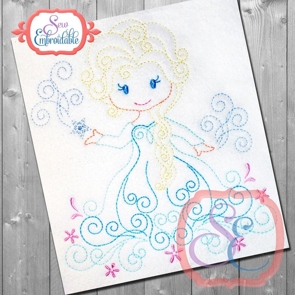 Swirly Princess 6 Embroidery Design