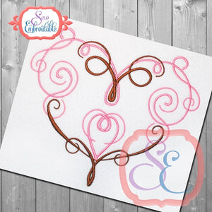 Swirl Heart 1 Embroidery Design
