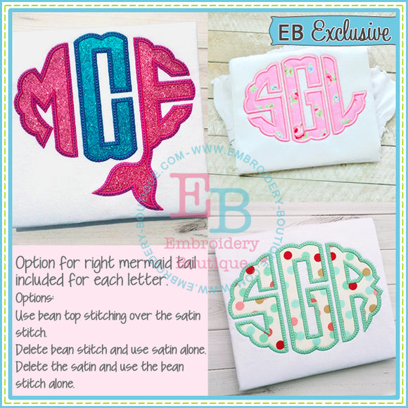 Mermaid Scallop Oval Applique Alphabet, Applique Alphabet