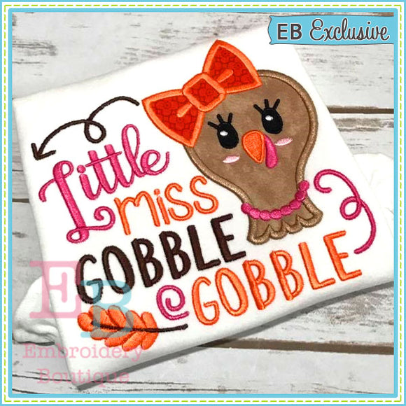 Miss Gobble Applique, Applique