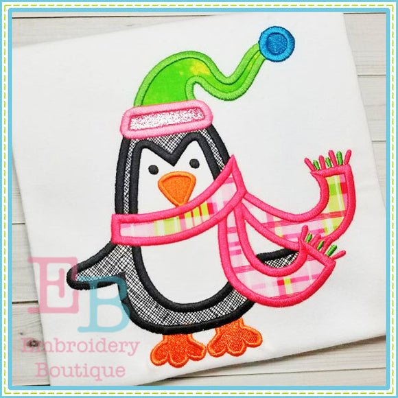 Penguin Scarf Applique - embroidery-boutique