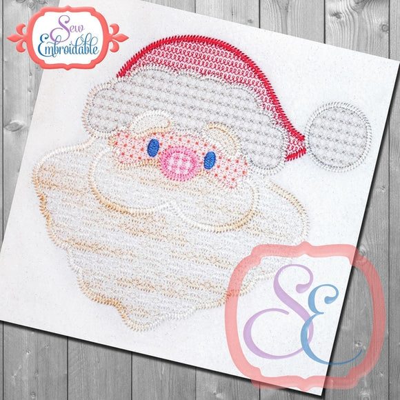 Motif Santa Face Embroidery Design, Embroidery