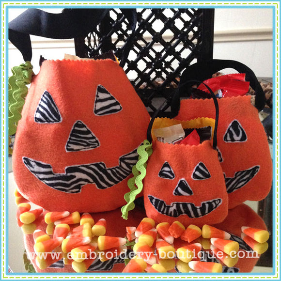 Pumpkin Shaped Treat Bags, Applique