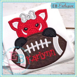 Football Pig Girl Applique