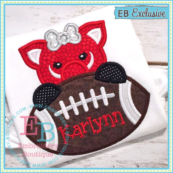 Football Pig Girl Applique, Applique