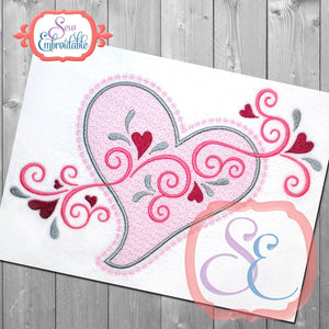 Motif Heart Swirls Embroidery Design