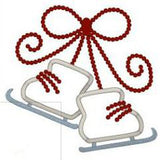 Bow Tied Ice Skates Applique - embroidery-boutique