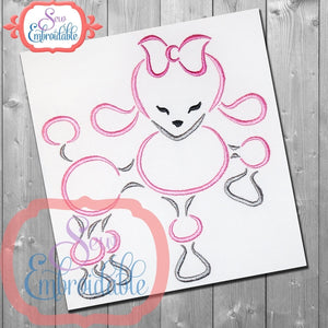 Paris Poodle 4 Embroidery Design