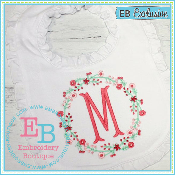 Floral Wreath Design, Embroidery