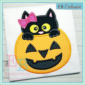 Pumpkin Kitty Applique - embroidery-boutique