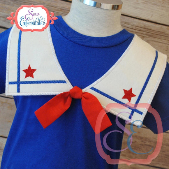 Faux Square Sailor Collar Front, In The Hoop Projects