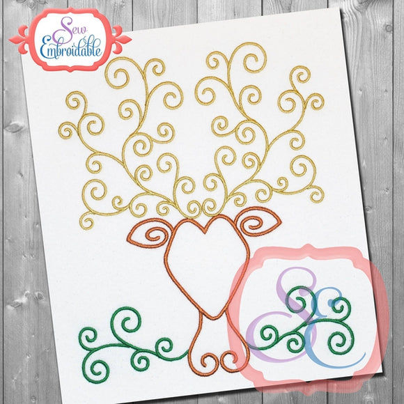 Stag Swirl Embroidery Design - embroidery-boutique