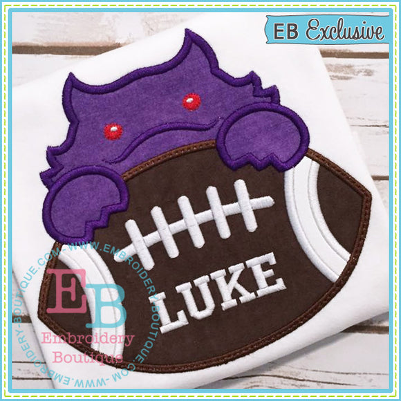 Football Horned Frog Boy Applique, Applique