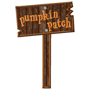 Pumpkin Patch Sign Applique