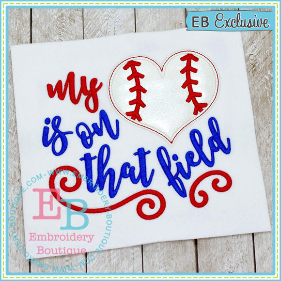 My Heart on Field Baseball/Softball Applique - embroidery-boutique