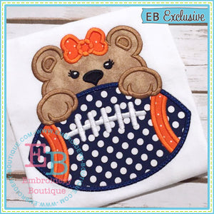 Football Bear Girl Applique, Applique
