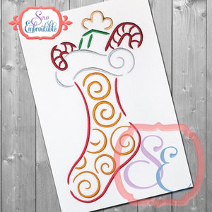 Stocking Swirl Embroidery Design, Embroidery