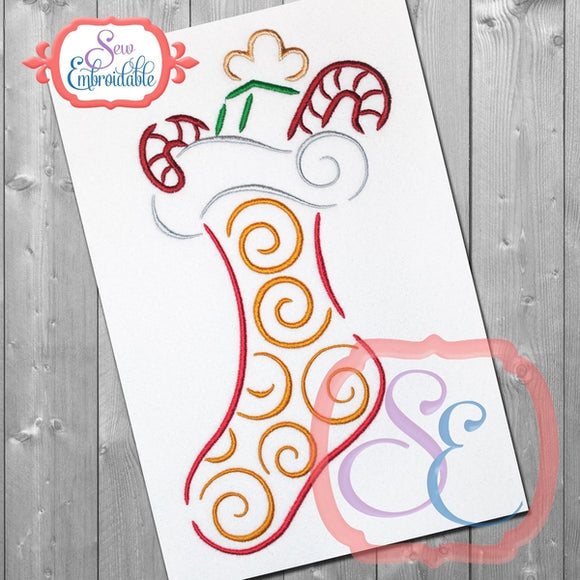 Stocking Swirl Embroidery Design - embroidery-boutique