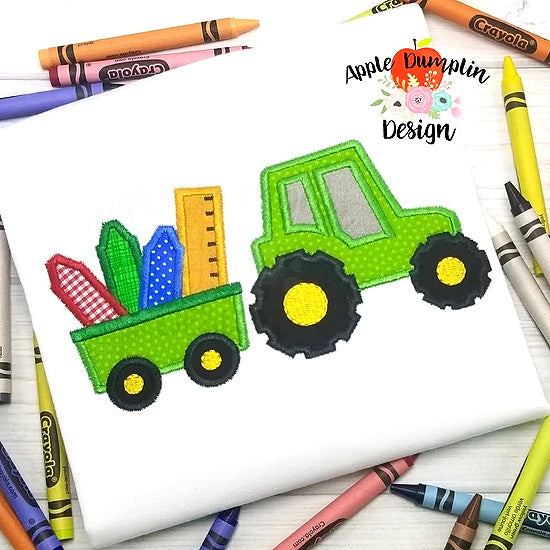 Back to School Tractor Applique Design, applique