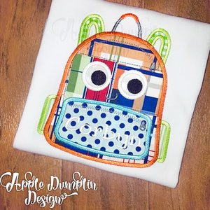 Backpack with Eyes Applique Design, applique