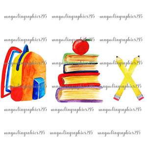 Back to School Trio Printable Design PNG