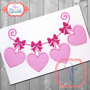 String of Hearts Applique - embroidery-boutique