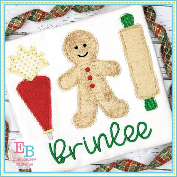 Baking Cookies Row Zigzag Applique, Applique