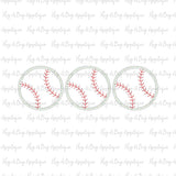 Baseball Trio Zig Zag Stitch Applique