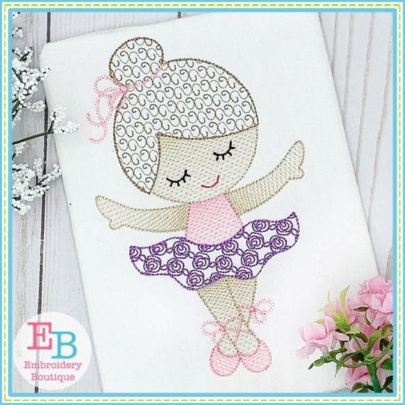 Little Ballerina 1 Motif Sketch Design