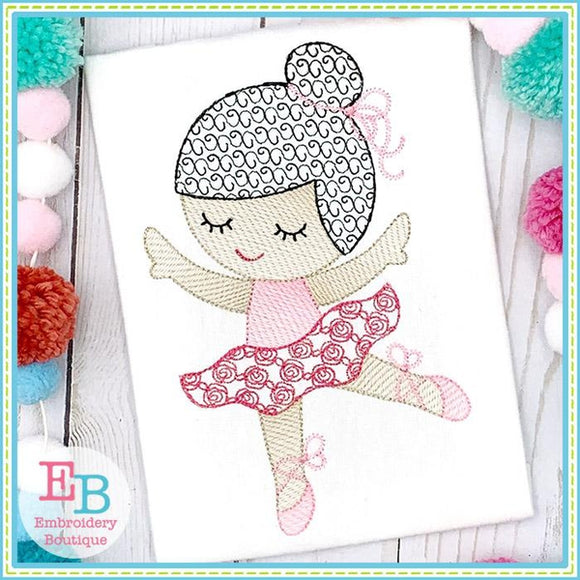 Little Ballerina 2 Motif Sketch Design