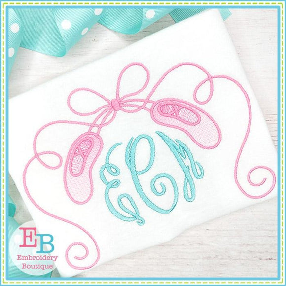 Ballet Shoes with Curly Ribbons Design