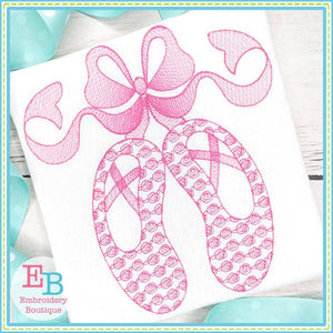 Ballet Shoes with Big Bow Motif Design, Embroidery