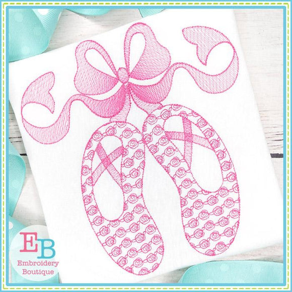 Ballet Shoes with Big Bow Motif Design