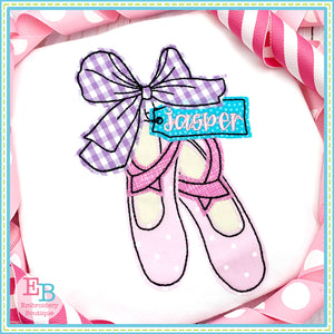 Ballet Shoes Big Bow Bean Applique