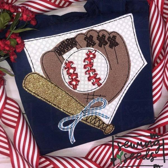 Baseball Home Plate, Glove and Bat with BOW Applique SS, Applique