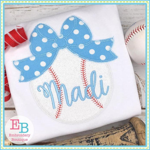 Baseball with Big Bow Zigzag Applique