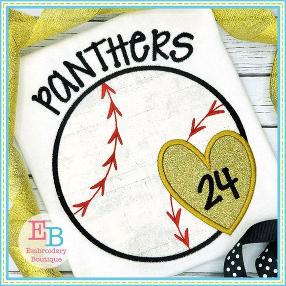 Baseball-Softball Heart Satin Applique, Applique