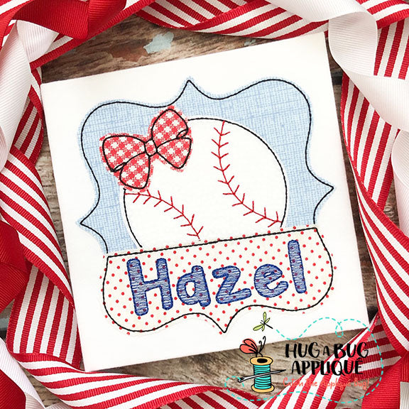 Baseball Bow Split Frame Bean Stitch Applique