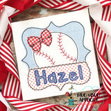 Baseball Bow Split Frame Bean Stitch Applique, Applique