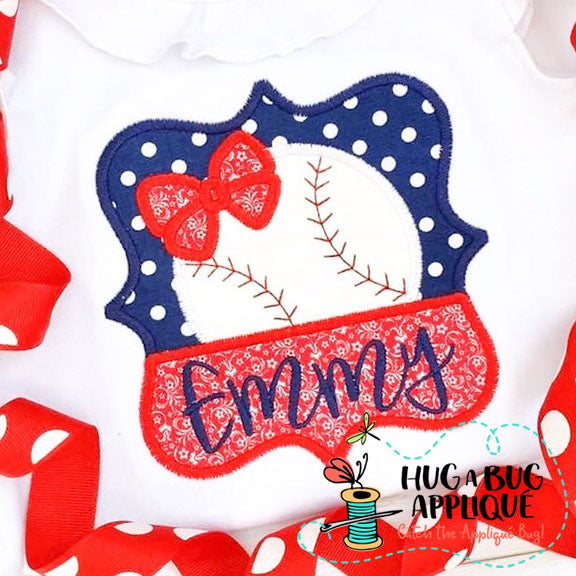 Baseball Bow Split Frame Satin Stitch Applique, Applique