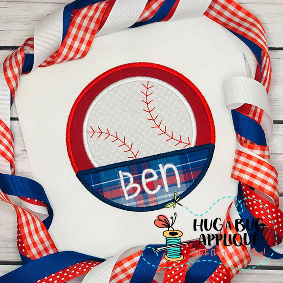 Baseball Split Circle Satin Stitch Applique-Embroidery Boutique