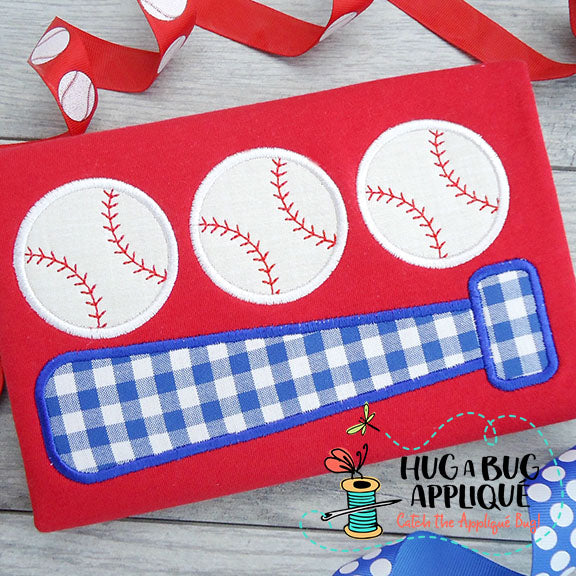 Bat Ball Trio Satin Stitch Applique