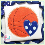Basketball Heart Scribble Applique