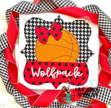 Basketball Bow Split Frame Bean Stitch Applique Design, Applique