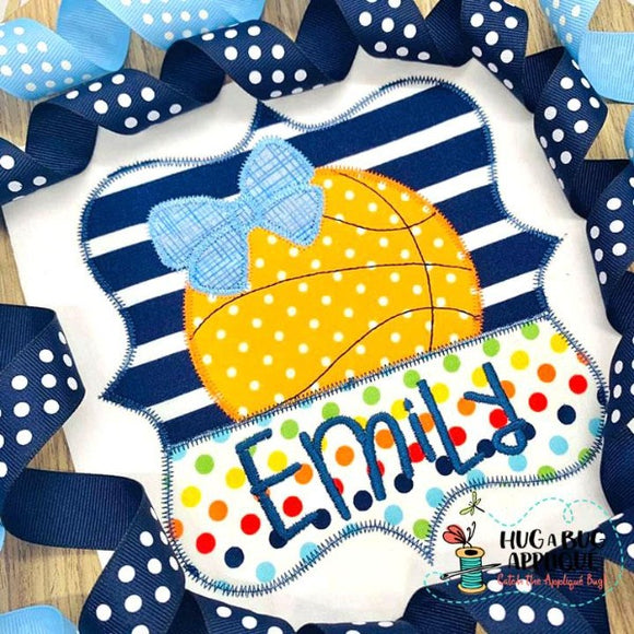 Basketball Bow Split Frame Zig Zag Stitch Applique Design, Applique