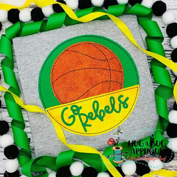 Basketball Split Circle Bean Stitch Applique Design, Applique